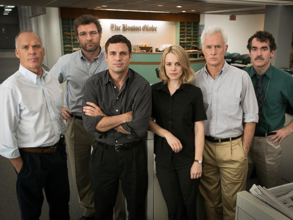 PHOTO: The cast of the movie Spotlight, from left, Michael Keaton, Liev Schreiber, Mark Ruffalo, Rachel McAdams, John Slattery and Brian dArcy James.