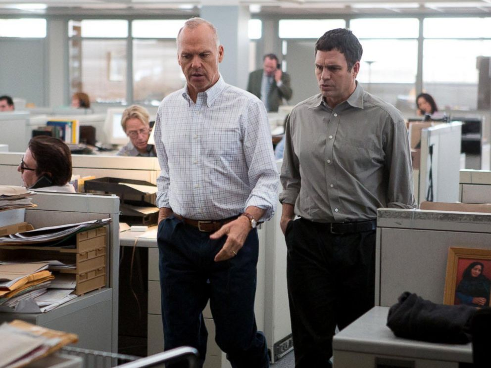 PHOTO: Michael Keaton, left, and Mark Ruffalo in a scene from the movie Spotlight.