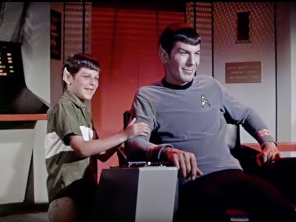 PHOTO: Leonard Nimoy and his son Adam Nimoy are seen on the set of Star Trek in this undated file photo.