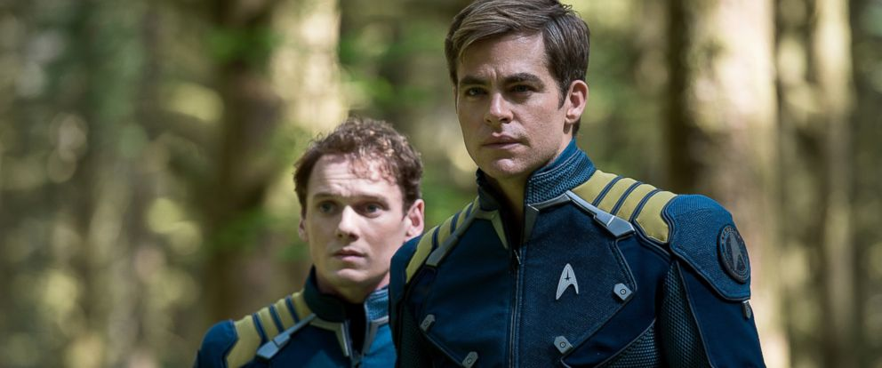 "PHOTO: Anton Yelchin, left, as Chekov and Chris Pine as Kirk in ""Star Trek Beyond."""