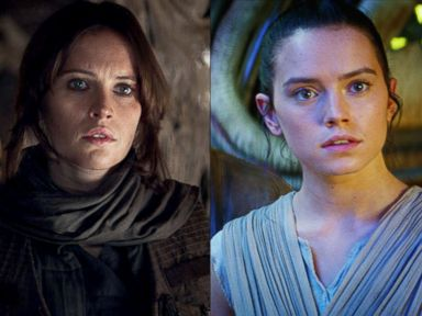 PHOTO: Felicity Jones in a scene from Rogue One: A Star Wars Story. | Daisy Ridley as Rey is seen in a scene from Star Wars: The Force Awakens.