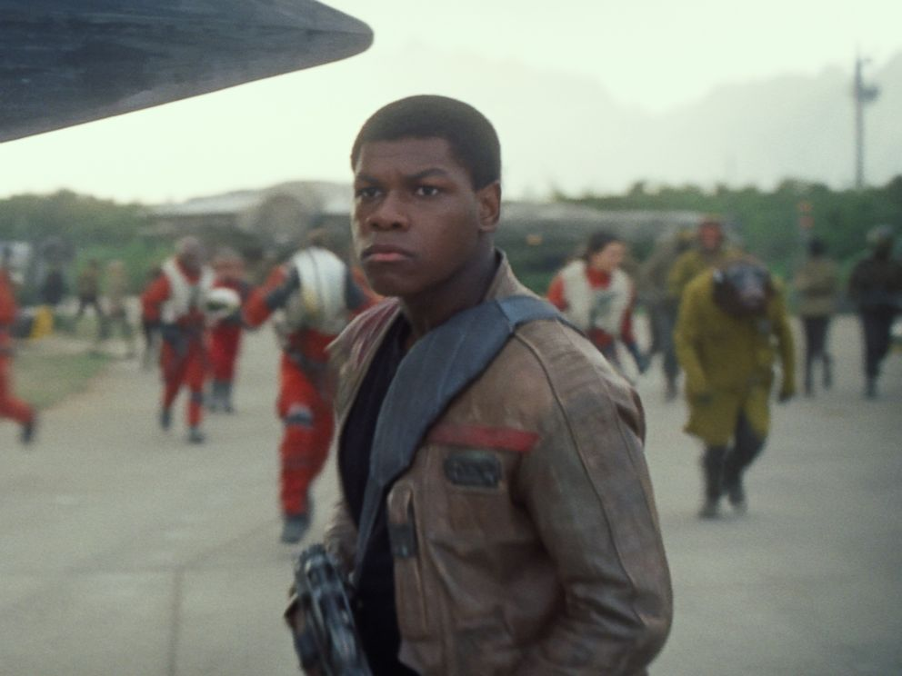 John Boyega as Finn in a scene from Star Wars The Force Awakens