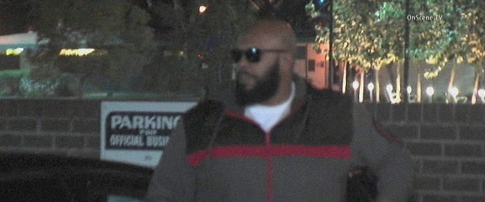 """PHOTO: """"Suge"""" Knight arrives at the Los Angeles Sheriffs Departments West Hollywood station for an investigation into a deadly hit-and-run crash, Jan. 30, 2015."""