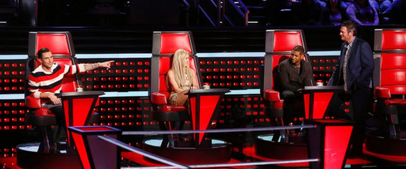 PHOTO: From left, judges Adam Levine, Shakira, Usher and Blake Shelton on The Voice, March 18, 2014.
