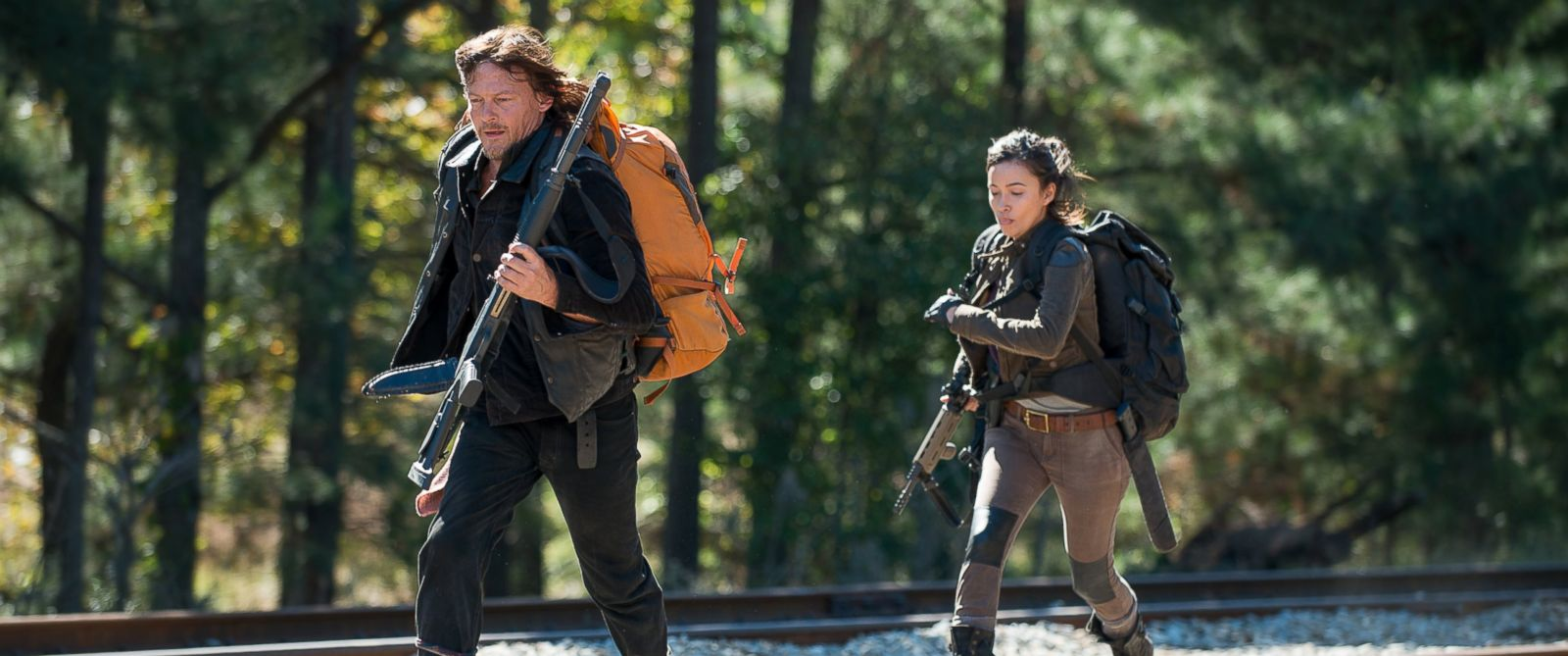 """PHOTO:Christian Serratos as Rosita Espinosa and Norman Reedus as Daryl Dixon in a scene from """"The Walking Dead."""""""