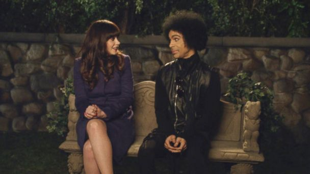 "PHOTO: Zooey DesChanel and Prince pictured in a still from the ""Prince"" episode of ""New Girl,"" which aired Feb. 2, 2014."