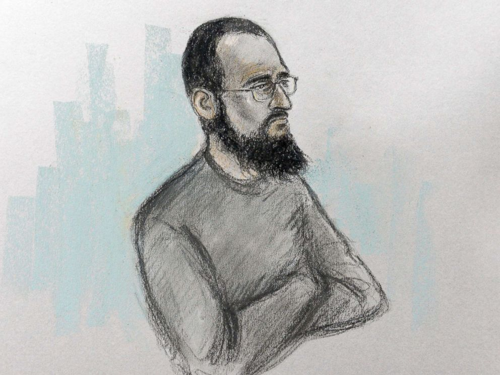 PHOTO: Court artist sketch by Elizabeth Cook of Husnain Rashid in the dock at Westminster Magistrates Court in London, Dec. 6, 2017.