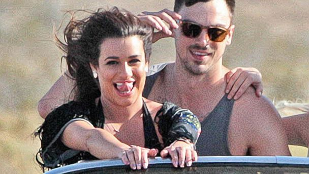 "PHOTO: Lea Michele films a music video with Matthew Paetz for her song ""On My Way"" in Palmdale, Calif, April 19, 2014."