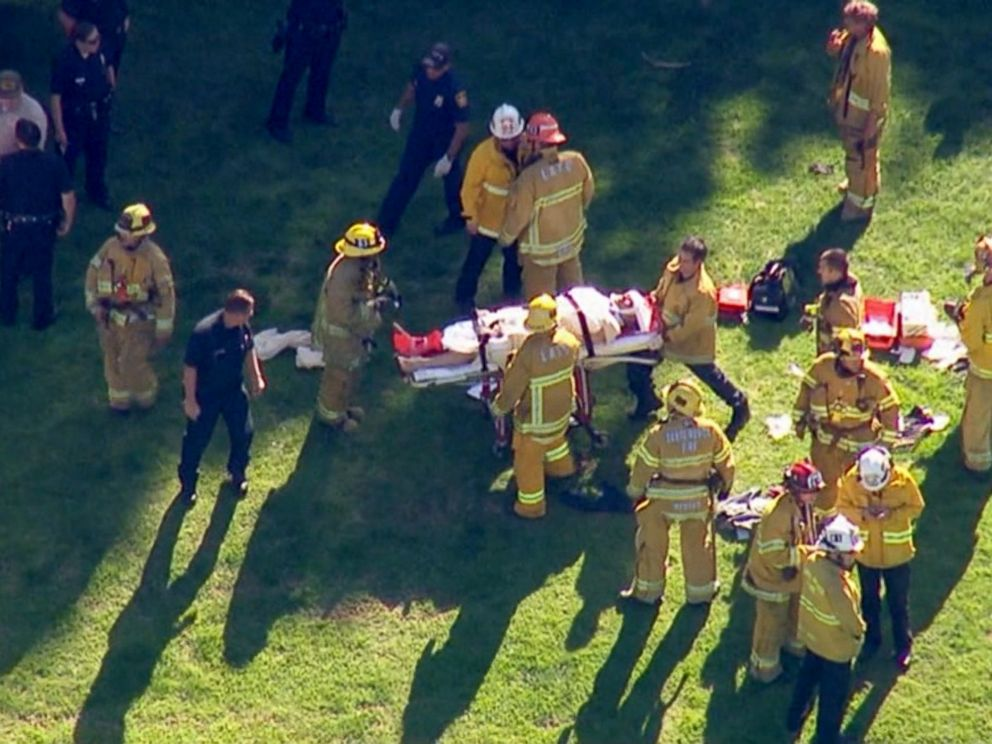 PHOTO: Firefighters and rescue crews removes the pilot after a single-engine plane crashed at the Penmar Golf Course near Santa Monica Municipal Airport, March 5, 2015.