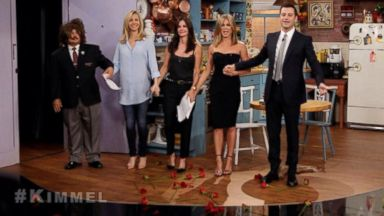 PHOTO: Friends co-stars Lisa Kudrow, Courteney Cox and Jennifer Aniston appear with Jimmy Kimmel and Guillermo Rodriguez on Jimmy Kimmel Live, Aug. 27, 2014.