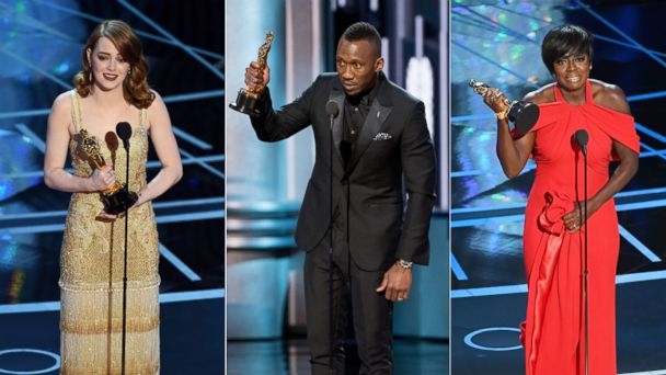 PHOTO: (L-R) Emma Stone, Mahershala Ali and Viola Davis onstage during the 89th Annual Academy Awards at Hollywood & Highland Center, Feb. 26, 2017 in Hollywood, Calif.