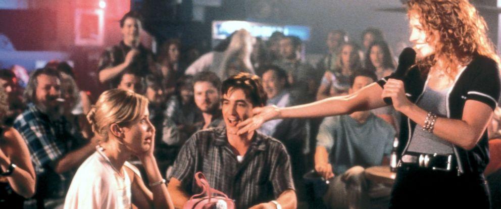"PHOTO: Cameron Diaz, Rupert Everett and Julia Roberts interact in a scene from ""My Best Friends Wedding."""
