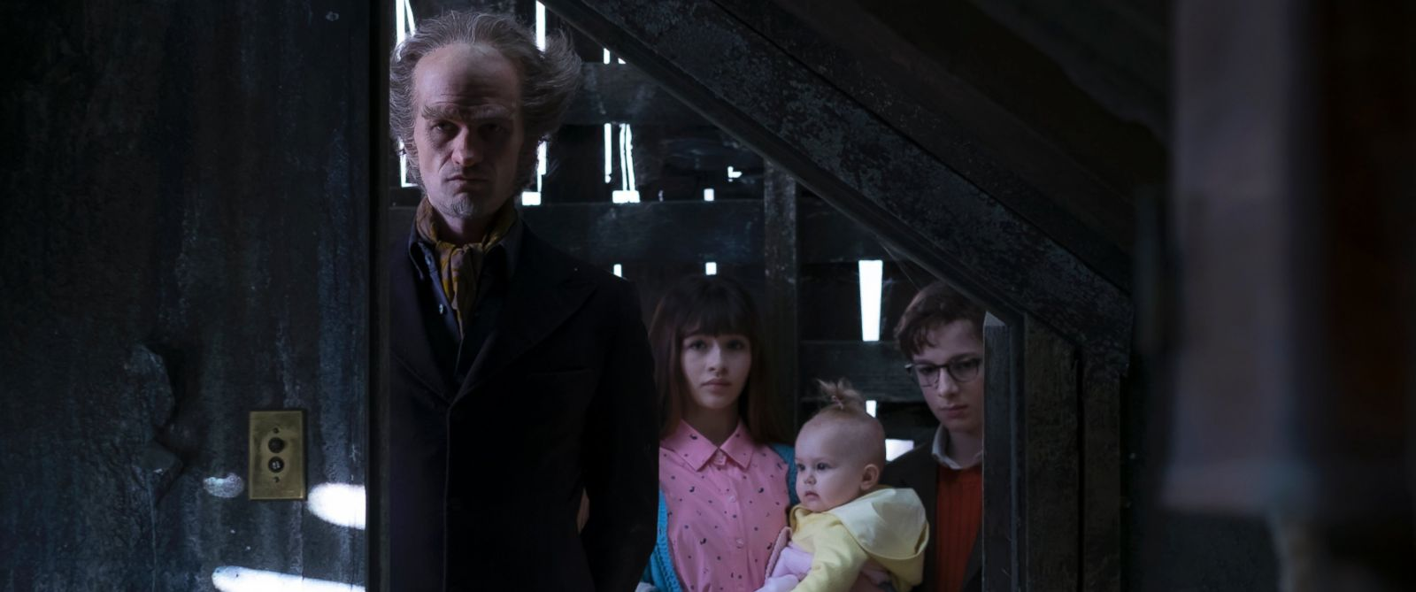 "PHOTO: Neil Patrick Harris is pictured here in a still as Count Olaf from the Netflix series ""A Series of Unfortunate Events"" with co-stars Malina Weissman and Louis Hynes."