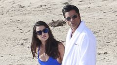 John Stamos Films on the Beach with Lea Michele