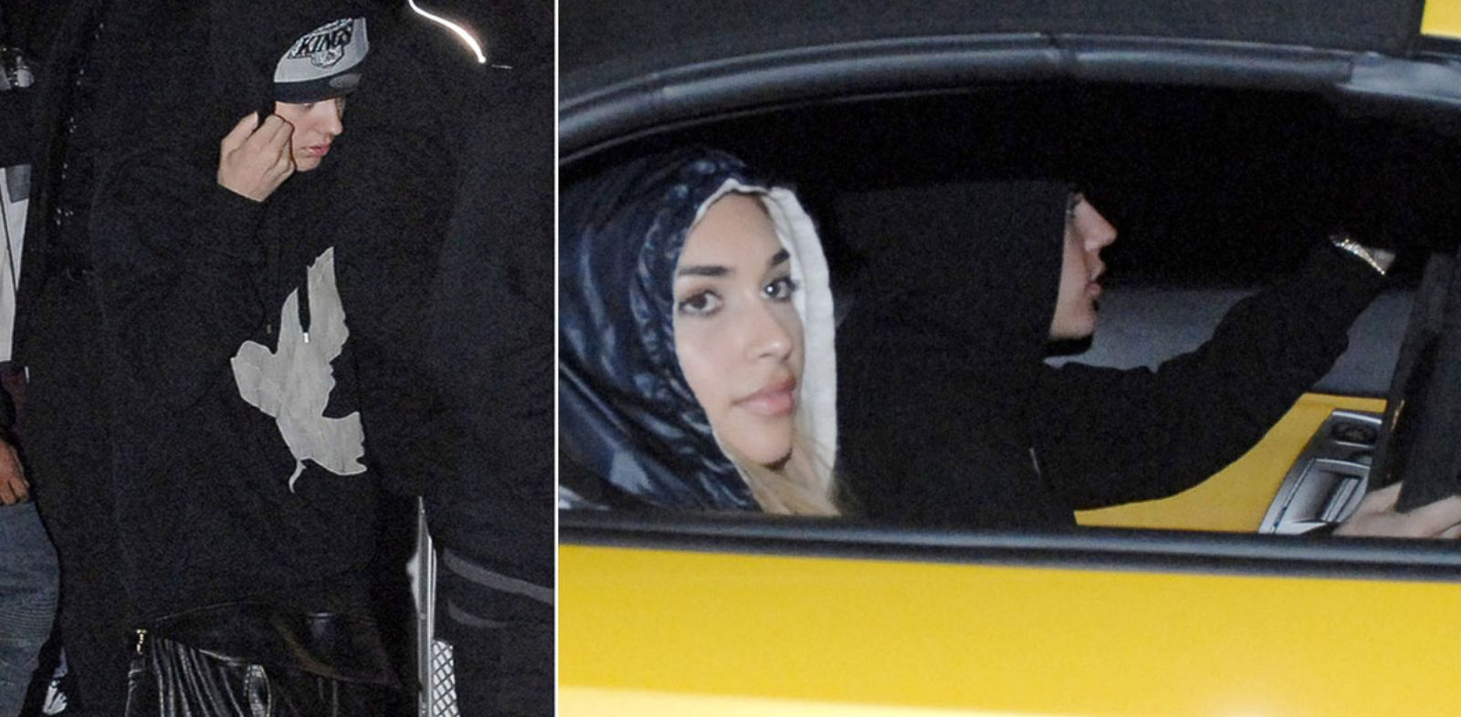 PHOTO: Left, Justin Bieber is seen leaving a Miami nightclub, and right, driving with a companion the night of his arrest, Jan. 23, 2014.