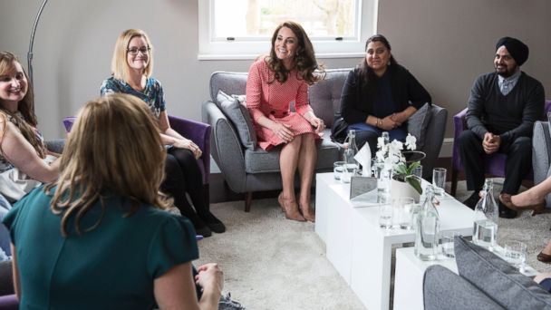PHOTO: Catherine, Duchess of Cambridge, meets with a parent support group similar to those featured in the 'Out of the Blue' series, to talk with mothers and fathers about how becoming a parent affected their mental health.