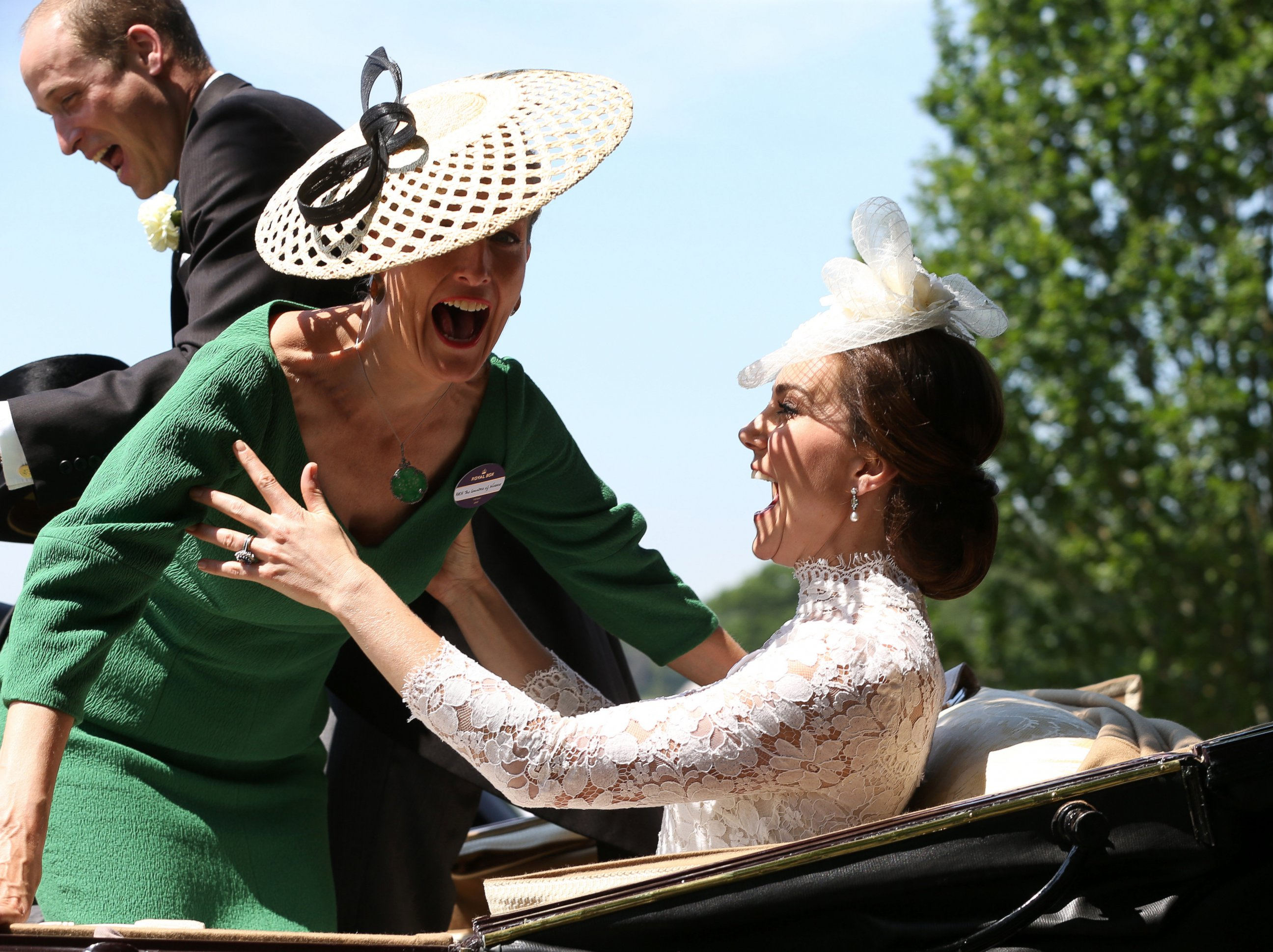 The Countess of Wessex, Sophie, accidentally falls onto Kate, Duchess of Cambridge, at Ascot