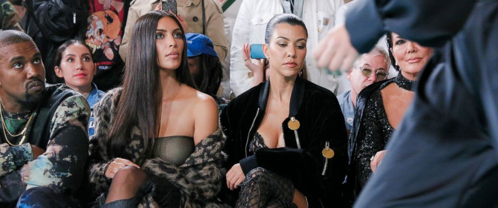 PHOTO: Kanye West, Kim Kardashian West, Kourtney Kardashian and Kris Jenner at the Off-White show, Front Row, Spring Summer 2017, Paris Fashion Week, on Sept. 29, 2016, in Paris.