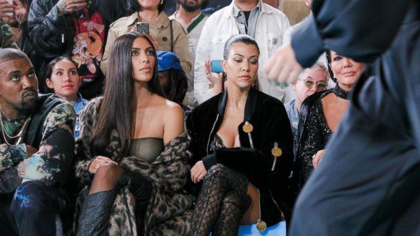 PHOTO: Kanye West, Kim Kardashian West, Kourtney Kardashian and Kris Jenner at the Off-White show, Front Row, Spring Summer 2017, Paris Fashion Week, on Sept. 29, 2016, in Paris.