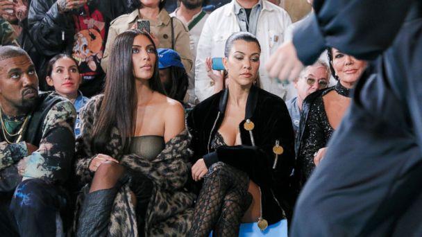 PHOTO: Kanye West, Kim Kardashian West, Kourtney Kardashian, and Kris Jenner at the  Off-White show, during Paris Fashion Week, on Sept. 29, 2016, in Paris.
