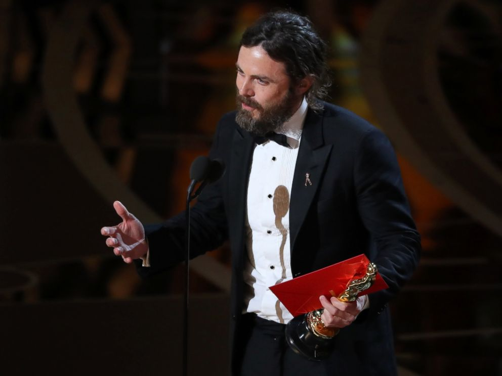 PHOTO: Casey Affleck speaks as he accepts the Oscar for Best Actor for Manchester by the Sea.