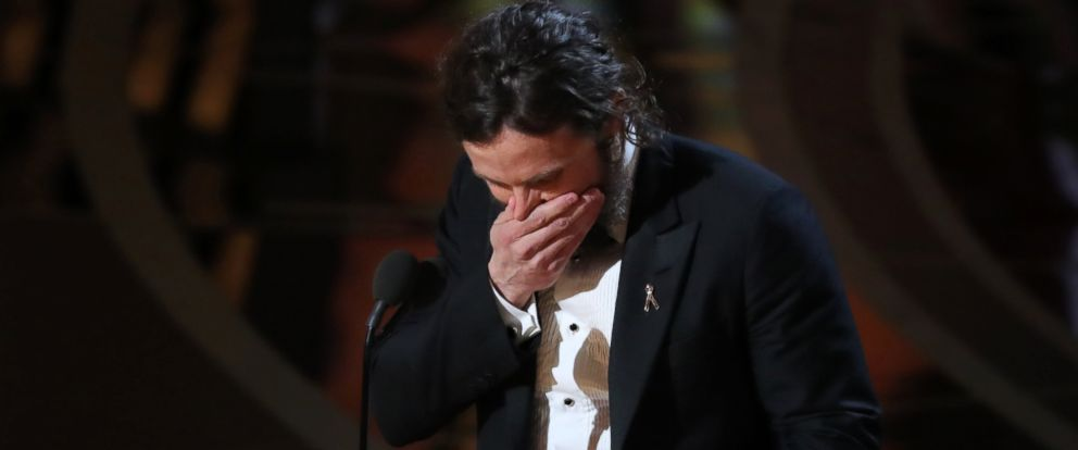 "PHOTO: Casey Affleck reacts as he accepts the Oscar for Best Actor for ""Manchester by the Sea."""