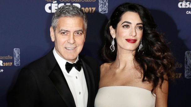 PHOTO:Actor George Clooney and his wife Amal pose as they arrive at the 42nd Cesar Awards ceremony in Paris, Feb. 24, 2017.