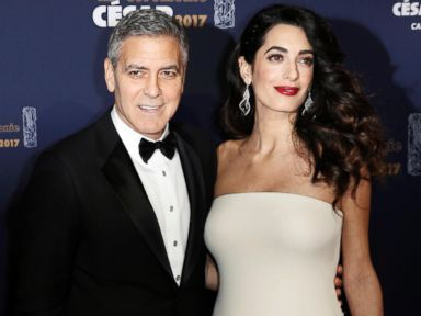 Pregnant Amal Clooney supports George at the Cesar Awards