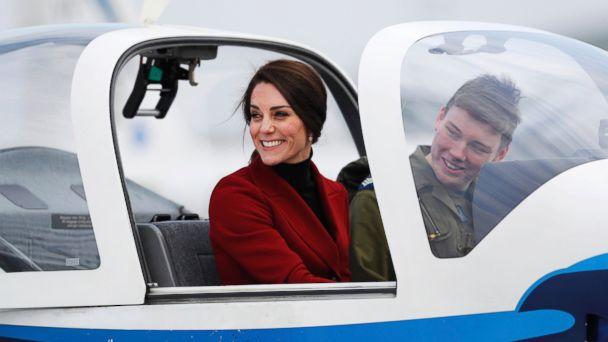 PHOTO: Britain's Catherine, the Duchess of Cambridge, sits in a training aircraft during a visit to RAF Wittering, Feb. 14, 2017.