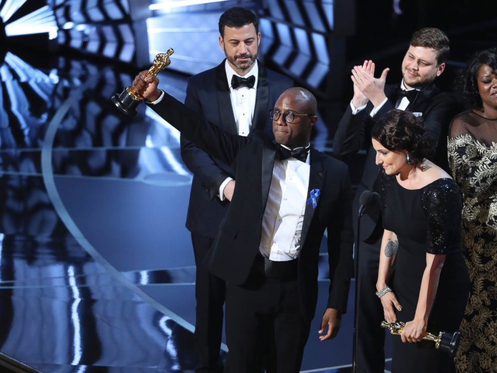 PHOTO: Writer and Director Barry Jenkins of Moonlight holds up the Best Picture Oscar.