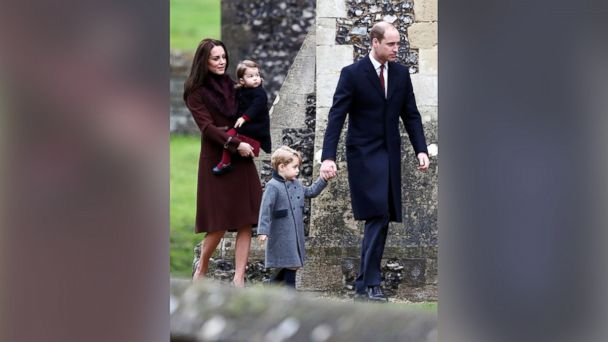 PHOTO: Prince William, the Duke of Cambridge, his wife Catherine, The Duchess of Cambridge, Prince George and Princess Charlotte arrive to attend the morning Christmas Day service at St Mark's Church in Englefield, England, Dec. 25, 2016.