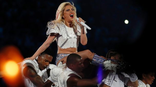 PHOTO: Singer Lady Gaga performs during the halftime show at Super Bowl LI between the New England Patriots and the Atlanta Falcons in Houston, Texas,Feb. 5, 2017.