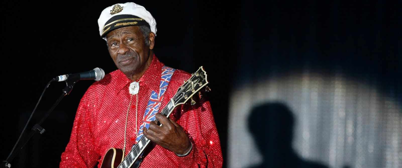 PHOTO: Rock and roll legend Chuck Berry performs during the Bal de la Rose in Monte Carlo, Monaco, on March 28, 2009.