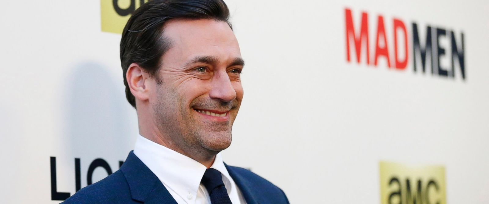 "PHOTO: Jon Hamm poses at the premiere for the seventh season of the television series ""Mad Men"" in Los Angeles, Calif., April 2, 2014."