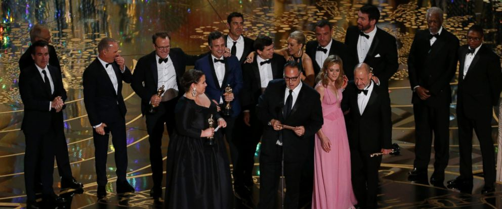 "PHOTO:Producer Michael Sugar accepts the Oscar for Best Picture for his film ""Spotlight"" with his fellow producers and cast at the 88th Academy Awards in Hollywood, Calif., Feb. 28, 2016."