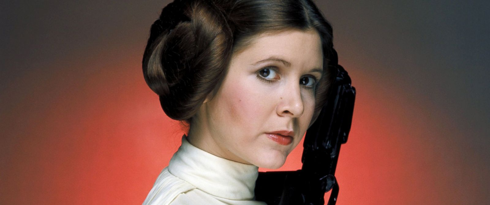 "PHOTO: Carrie Fisher, as Princess Leia, in a promotional image for ""Star Wars: Episode IV - A New Hope."""