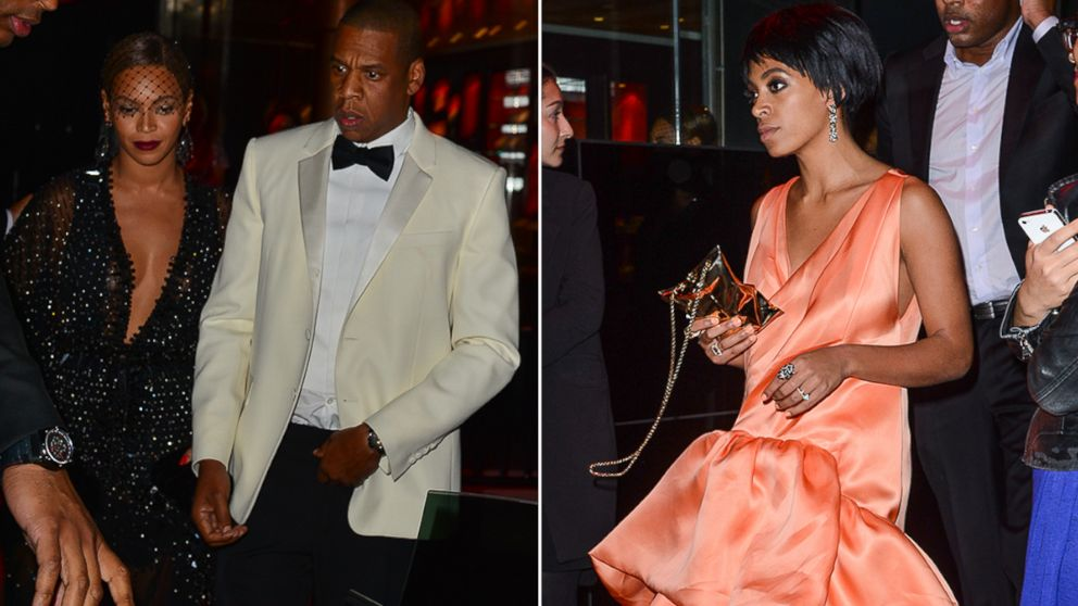 PHOTO: Jay Z, Beyonce Knowles, and Solange Knowles seen leaving a party.
