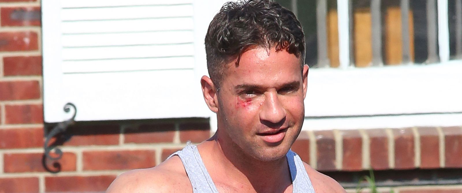 PHOTO: Mike The Situation Sorrentino is seen leaving Middletown township police department after reportedly being arrested following a flight at his tanning salon in New Jersey, June 17, 2014.