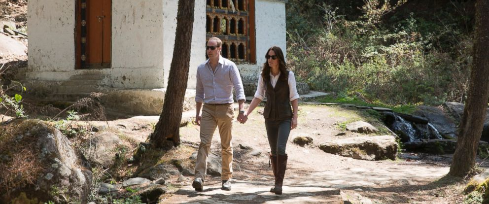 PHOTO: The Duke and Duchess of Cambridge, Prince William and Catherine, continued their tour of India and Bhutan. The couple set out for a hike and passed a prayer wheel on the way to the Tigers Nest in Paro Taktsang, Bhutan, April 15, 2016.