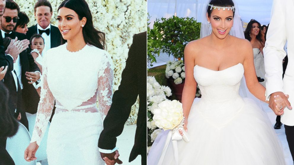 How kim kardashian39s weddings to kanye west and kris for Kim kardashian s wedding dress