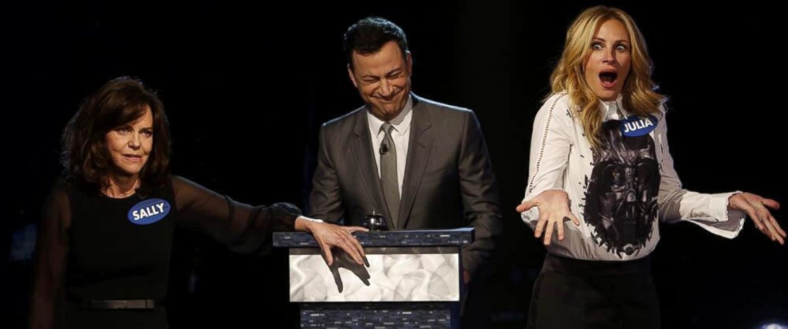 """PHOTO: Sally Field and Julia Roberts appear in a skit called """"Celebrity Curse-Off"""" on """"Jimmy Kimmel Live,"""" May 5, 2014."""