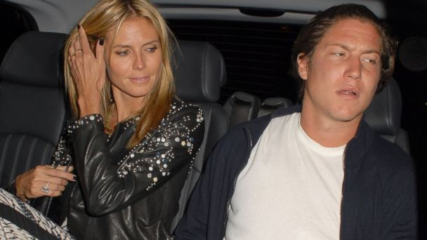 PHOTO: Heidi Klum and Vito Schnabel leave the Chiltern Firehouse restaurant in London, June 22, 2014.