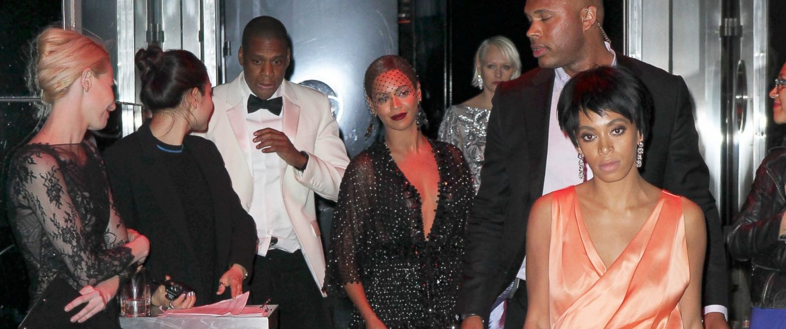 PHOTO: Jay Z, Beyonce and Solange leaving the Costume Institute Gala, at The Metropolitan Museum of Art in NYC, May 5, 2014.