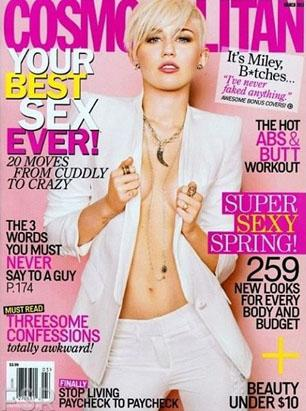 Miley Goes Braless for Cosmo