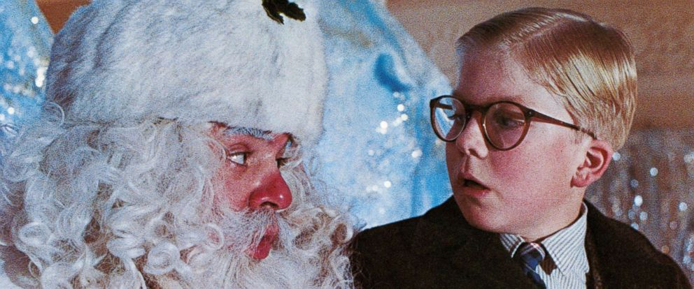 """PHOTO: Peter Billingsley sits on Santas lap in a scene from the movie """"A Christmas Story."""""""