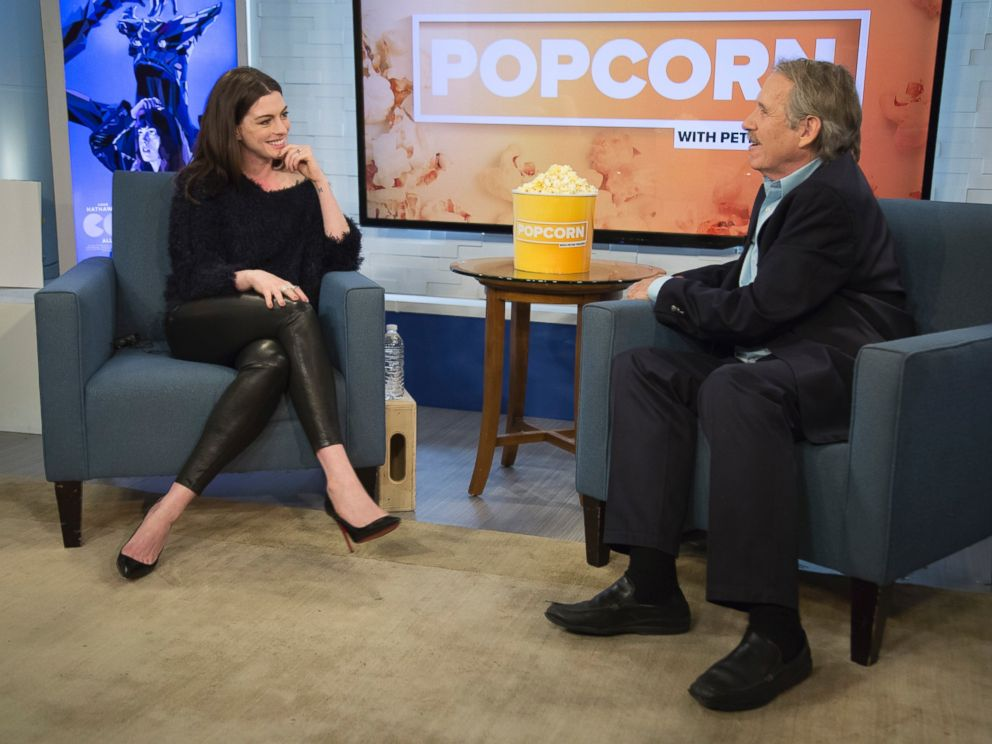 PHOTO: Anne Hathaway at ABC News studios in New York, on Popcorn with Peter Travers, April 18, 2017.
