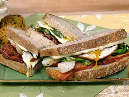 Michael Symon's bacon egg spring onion sandwich is shown here.