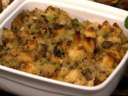 Mario Batali's merguez and chestnut stuffing is shown here.