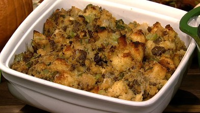 PHOTO: Mario Batali's merguez and chestnut stuffing is shown here.