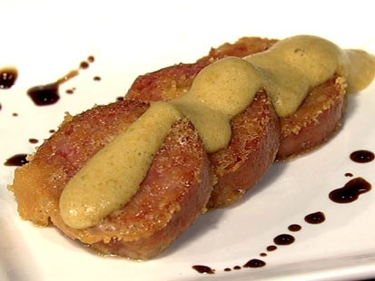 PHOTO: Mario Batalis parmesan crusted fried sausage is shown here.